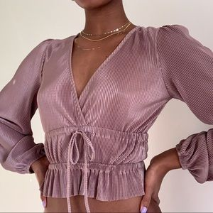 NEW Zara blush pink long sleeve blouse